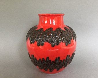 Bay Keramik  70  - 20 Red and black Fat Lava vintage Mid Century Modern 1960s /1970s  vase  West Germany Pottery. WGP vase.