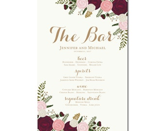 Printable Bar Menu Sign - Wedding Printable Bar Menu Sign - Wedding Bar Menu Poster - Wedding Sign - Wedding Bar Menu - Drink Menu #CL157