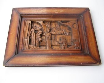 Vintage Marvelous Far East Heavy Art Wood Sculpture Carving