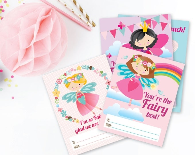 Fairy Valentines Day Cards / printable DIY card / classroom Valentine for kids / Instant Download Valentine Cards
