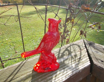 Mosser Glass Red Amberina Cardinal Bird Figurine