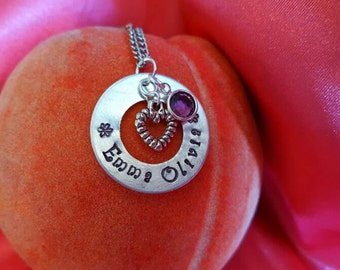 Emma Olivia - mothers necklace - new mom necklace - girl necklace