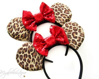 Minnie Mouse Cheetah Ears headband