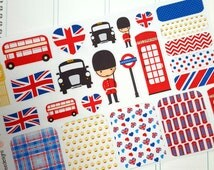 LONDON England themed planner stickers. Perfect for vacation or travel! For Erin Condren Life Planners, Filofax, Plum Planner, or Scrapbook