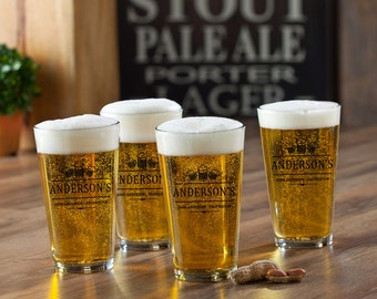 Personalized Pub Glass Set of 4 -  Barware Pub Glass Set - Man Cave Gift - Groomsman Gift - Gifts for Him - GC783