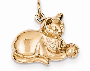 14K Rose Gold Cat Kitty with Ball Open Back Pendant Charm LKQD1317