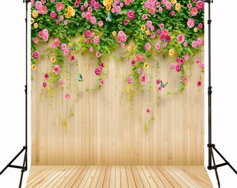 Fresh Flowers Wedding Photography Backgrounds Light Yellow Wood Backdrops for Photography Digital Printed F-1489