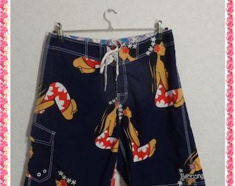 mens Shorts/mens swim trunks/Vintage Mens Hawaiian 80s Swim Trunks Shorts