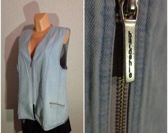 Denim Vest #Zipper Lock #XLarge-XXLarge Size