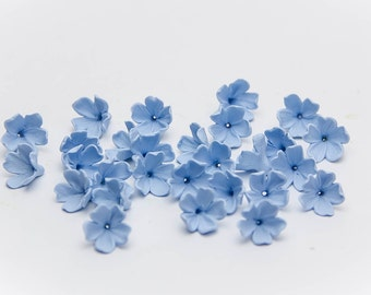 20 Lilac beads, blue flowers polymer clay beads jewelry, blue flowers 9-10mm