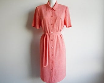 Vintage • Granny Dress • A-line Dress • Shirt Dress • Salmon Pink Dress • Pink Dress • Mid Long Dress • Short Sleeve Dress • Hipster Dress