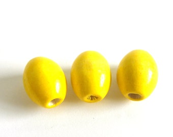 10 pc. Oval Wooden Beads 17 x 13 mm - Yellow