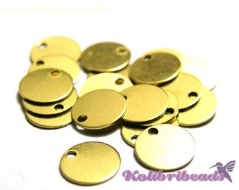 10x Small Round Brass Stamping Blanks Disc Charms 8 mm