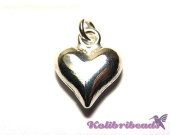 2x Puffed Heart Charm 15 mm - Silver plated