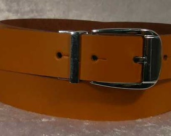 Tan leather belt with 30mm buckle and belt loop Made to Order