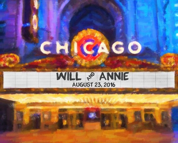 Chicago Wedding Personalized Wedding Gift Print Oil Painting Movie ...