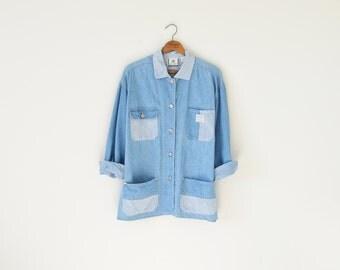 90s denim jacket / vintage utility jacket / jean jacket