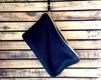 ROSELLA black leather clutch.