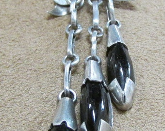 Jet and 900 Silver Brooch with Dangles.  Made in Mexico.