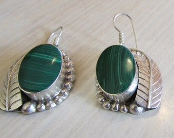 Sterling Silver and Faux Malachite Dangle Earrings
