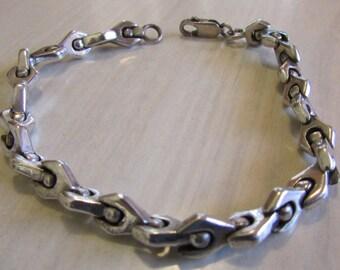 """Interesting Sterling Silver Link Bracelet 7 1/2"""""""