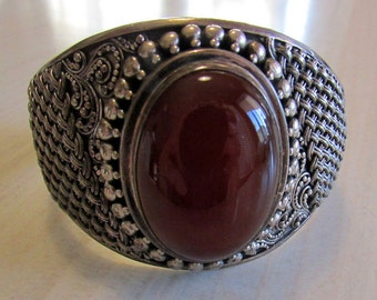 Sterling Silver and Carnelian Bracelet from Indonesia