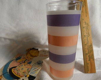 Vintage Pink Candy Stripe Rocks Glass Highball Water Tumbler Barware Bar