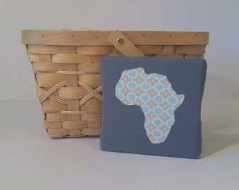 Gray and Aqua Africa Canvas | Customizable