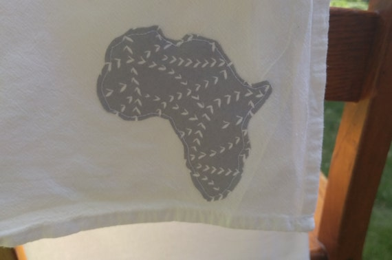 Dish towel with gray Africa accent shape | Africa adoption dish cloth