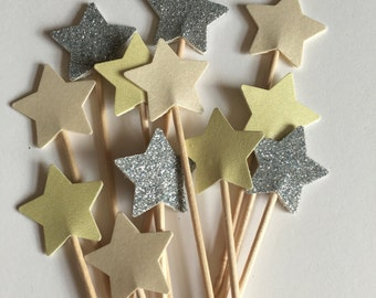Yellow Ivory Silver Glitter Cupcake Toppers Ideal for weddings baby showers bridal showers Batcherlorette party birthday parties