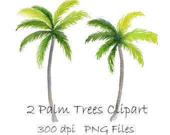 """Watercolor Palm Tree Clipart, Tropical PNG Instant Download, Hand Painted 8"""" Palm Trees Clip Art, 2 Individual PNG Files"""