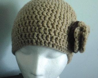 Brown  crochet beanie hat with appplique flower