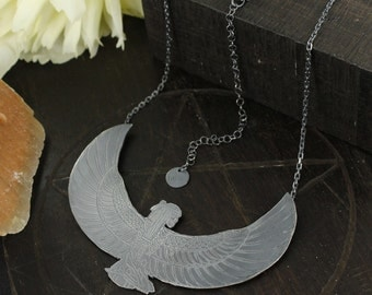 Isis necklace - Skull necklace - Goddess necklace - Sterling silver necklace - Handmade