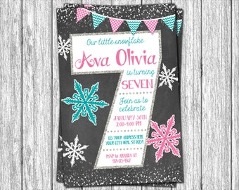 Winter Birthday Invitation - Winter 7th Birthday Invitations - Snowflake & Chalkboard - Seventh Birthday Invitation