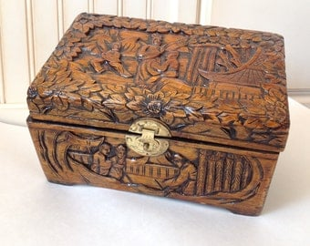 "Small Asian Inspired Camphor Intricate Hand Carved Box/Chest with a Brass Clasp -12""x7""x8"""