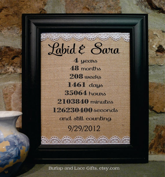 4 Year Wedding Gift : year anniversary, Wedding Gift, Initial Anniversary Gift, burlap and ...