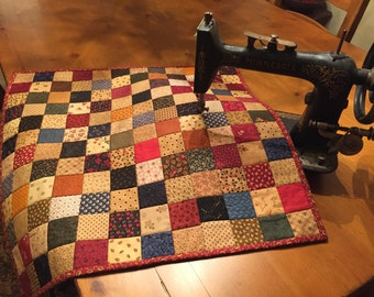 Country Quilt /Patchwork /  Quilted Table Topper / Primitive Decor / Country Decor / Handmade / Item #1447