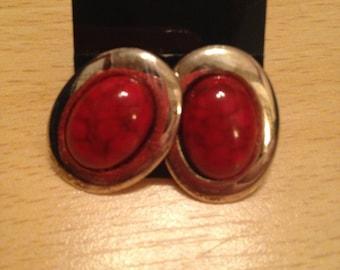 Silver plated with  red jasper semi precious stone pierced earrings.