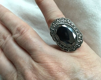 Faceted hematite ring -- 332
