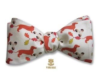 Virale by Dr. B. Fall Dachshund Bow Tie Autumn Leaves Acorn Acorns Dog Organic Cotton Sateen Bowtie