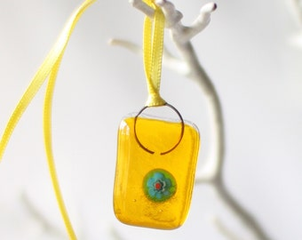 """fused glass yellow """"wonky nugget"""""""