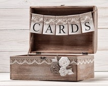 Rustic Wedding Card Box Holder with Burlap and Lace Cards Banner  Wedding Card Gift Box Wooden Chest Shabby Chic Flowers Wedding Sign