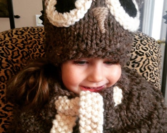 Owl Hat & Cowl set, Child hat, Fall and Winter,