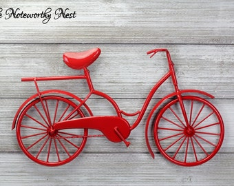 ANY COLOR Bicycle wall art // metal bicycle art // red bicycle // cycling wall art // bicycle art // girls bicycle // bike wall art