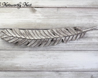 Large Feather Wall Decor // Feather Wall Art / Silver Feather / Feather Wall Hanging / Galvanized Look // Rustic Feather Decor //