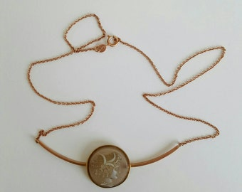 9ct gold antique cameo necklace