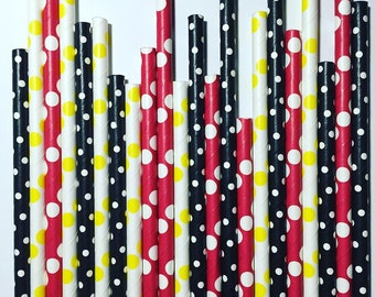 Mickey Mouse inspired paper straw pack, multipack of 25