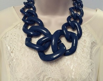 Slate Navy Blue  Chunky Chain Lucite Link  Housewife Resin Statement Necklace Additional Colors Available