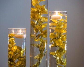 Submersible Gold Floral Wedding Centerpiece with Floating Candles and Acrylic Crystals Kit/ Perfect for Thanksgiving or Great Gatsby theme