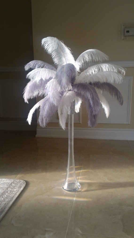 Silver gray and white ostrich feather centerpiece